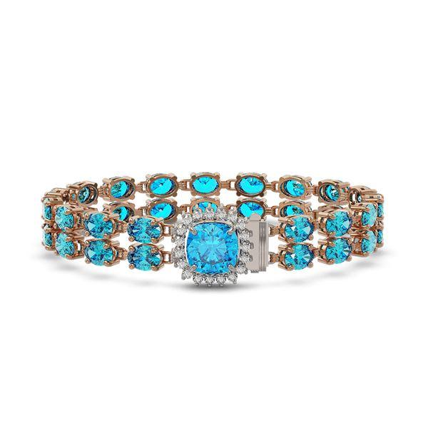 17.67 ctw Swiss Topaz & Diamond Bracelet 14K Rose Gold - REF-178N2F