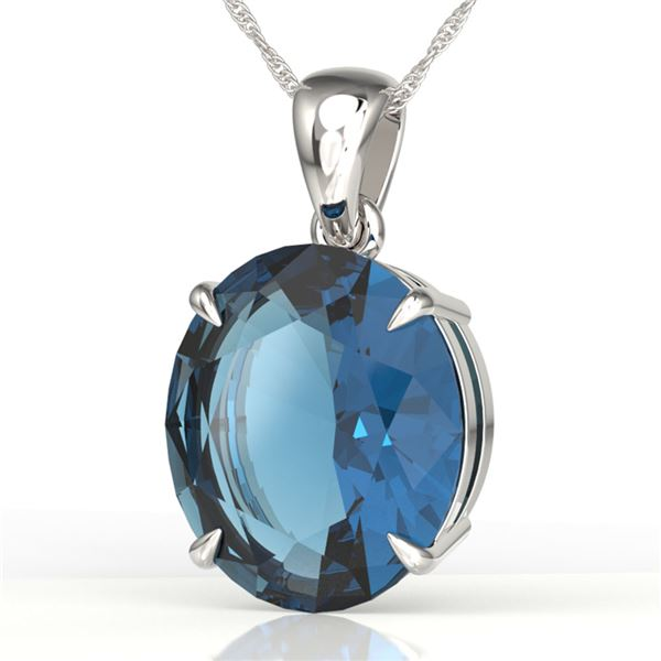 9 ctw London Blue Topaz Designer Solitaire Necklace 18k White Gold - REF-38A8N