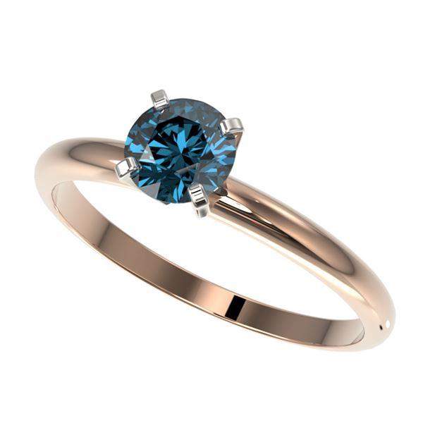 0.75 ctw Certified Intense Blue Diamond Engagment Ring 10k Rose Gold - REF-67F5M