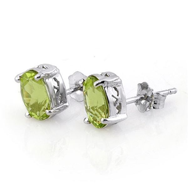2.0 ctw Peridot Solitaire Stud Earrings 18k White Gold - REF-15W3H