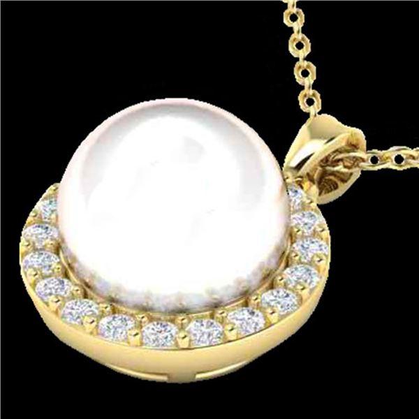 0.25 ctw Micro VS/SI Diamond & White Pearl Necklace 18k Yellow Gold - REF-30Y8X
