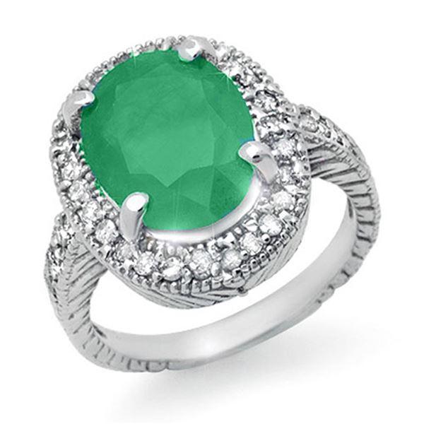 2.60 ctw Emerald & Diamond Ring 14k White Gold - REF-55F2M