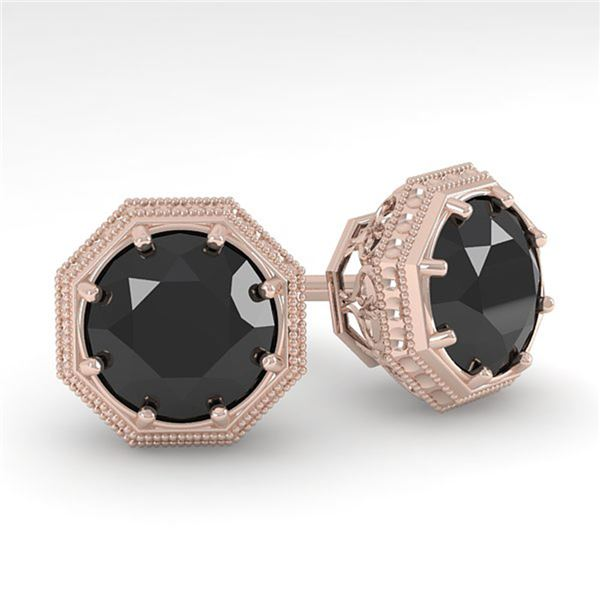 2.0 ctw Black Diamond Stud Solitaire Earrings Art Deco 18k Rose Gold - REF-50H3R