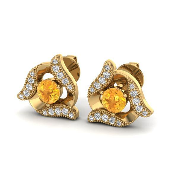 0.80 ctw Citrine & Micro Pave VS/SI Diamond Earrings 18k Yellow Gold - REF-40F4M