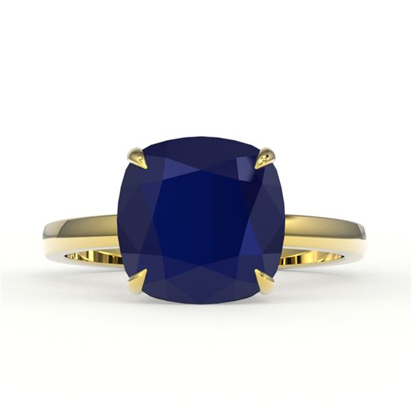 6 ctw Cushion Cut Sapphire Designer Engagment RNG 18k Yellow Gold - REF-38M2G