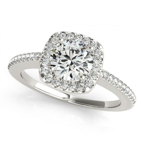0.75 ctw Certified VS/SI Diamond Halo Ring 18k White Gold - REF-98A9N
