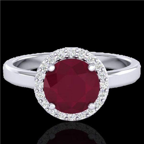 2 ctw Ruby & Halo VS/SI Diamond Micro Pave Ring 18k White Gold - REF-45H3R