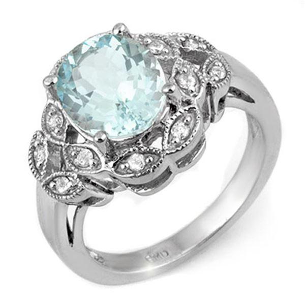 3.25 ctw Aquamarine & Diamond Ring 10k White Gold - REF-41A3N