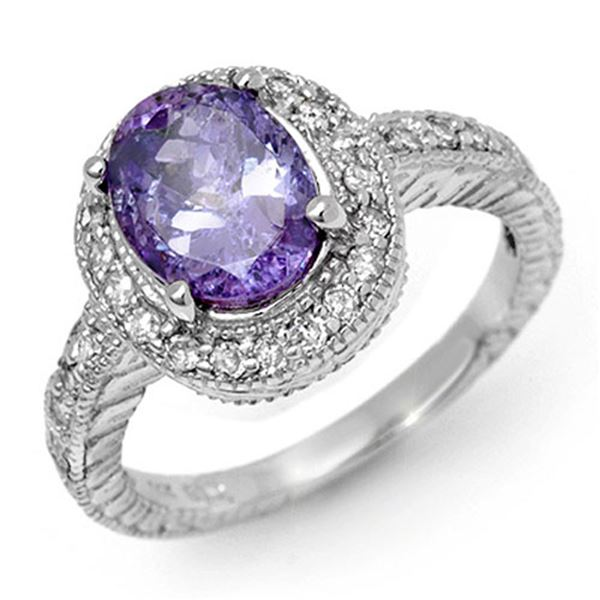 2.90 ctw Tanzanite & Diamond Ring 14k White Gold - REF-89X3A