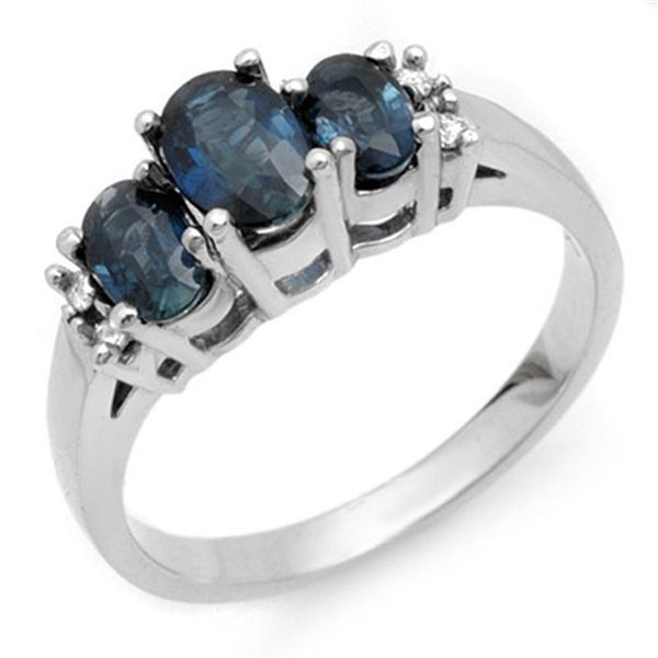 1.34 ctw Blue Sapphire & Diamond Ring 18k White Gold - REF-40Y9X