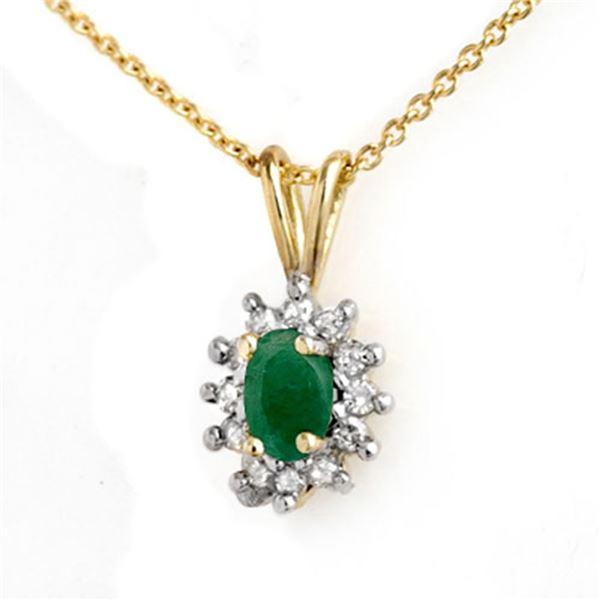 0.51 ctw Emerald & Diamond Pendant 10k Yellow Gold - REF-10N2F