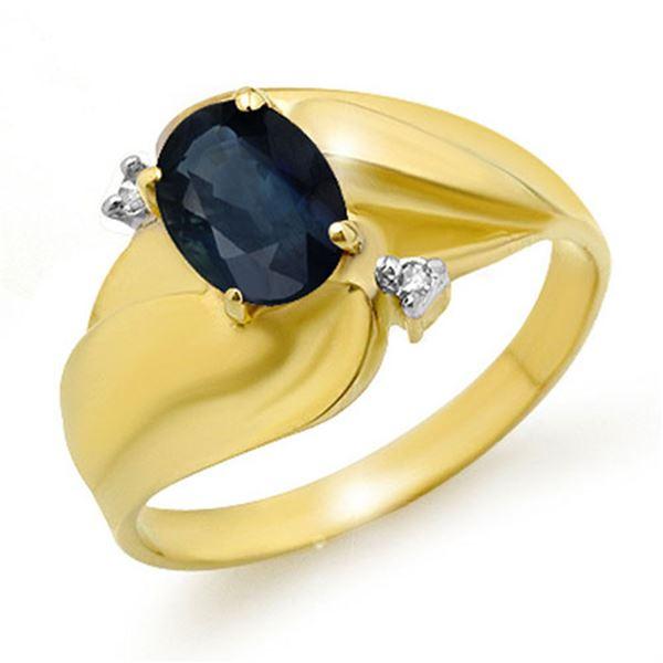 1.08 ctw Blue Sapphire & Diamond Ring 10k Yellow Gold - REF-17G8W