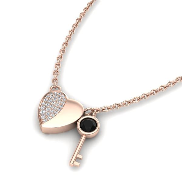 0.50 ctw Micro Black & Diamond Key to The Heart Necklace 14k Rose Gold - REF-28M6G