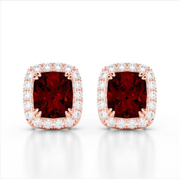 2.50 ctw Garnet & Micro Pave VS/SI Diamond Earrings 10k Rose Gold - REF-34M3G