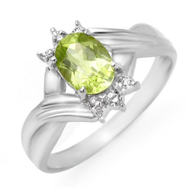 1.04 ctw Peridot & Diamond Ring 10k White Gold - REF-12W3H