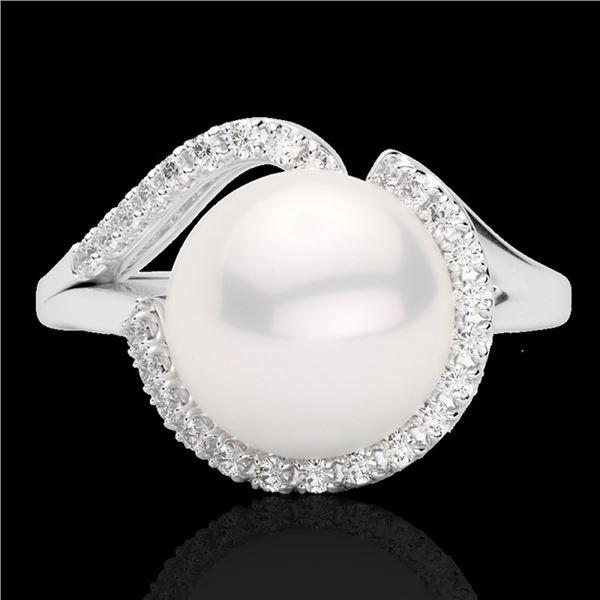 0.27 ctw VS/SI Diamond & White Pearl Ring 18k White Gold - REF-39R3K