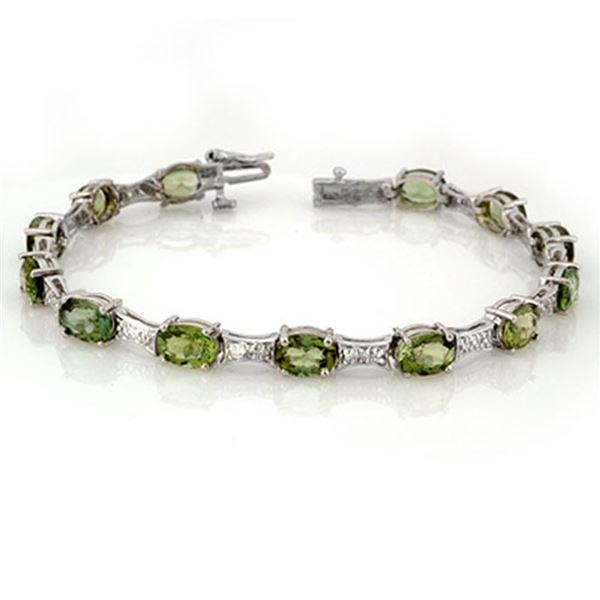 12.04 ctw Green Tourmaline & Diamond Bracelet 10k White Gold - REF-131G6W