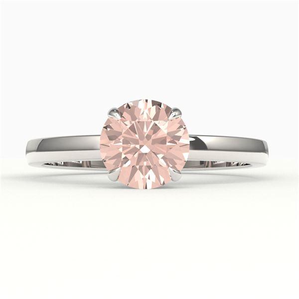2 ctw Morganite Designer Engagment Ring 18k White Gold - REF-42H3R