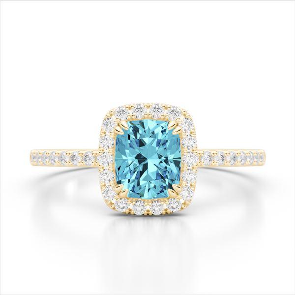 1.25 ctw Sky Blue Topaz & Micro Pave VS/SI Diamond Ring 10k Yellow Gold - REF-25W9H