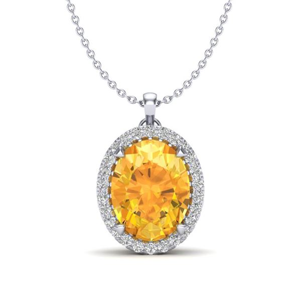 2.75 ctw Citrine & Micro VS/SI Diamond Halo Necklace 18k White Gold - REF-37R5K