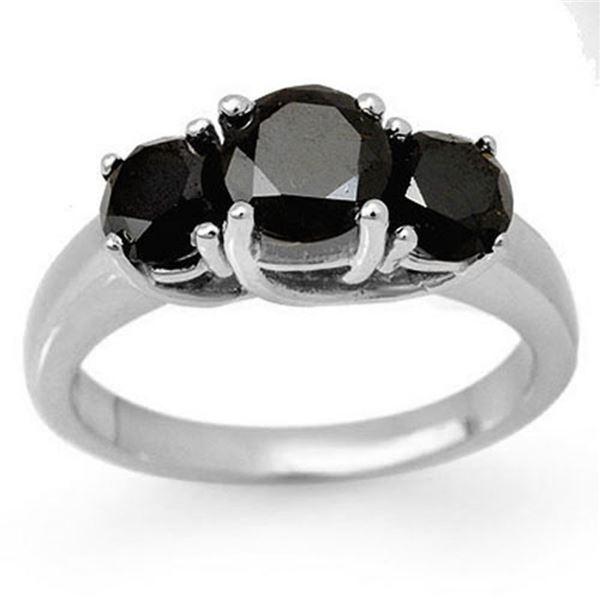 2.50 ctw VS Certified Black & White Diamond 3 Stone Ring 18k White Gold - REF-83G3W