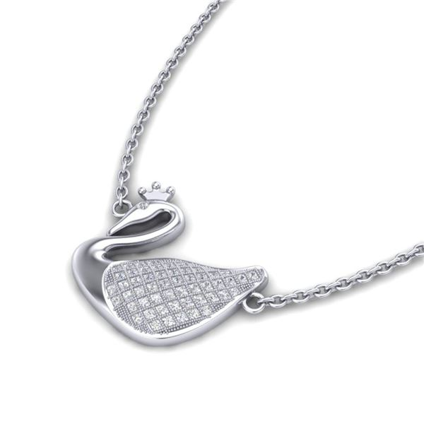 0.40 ctw Micro Pave Diamond NOBLE CROWN SWAN Necklace 18k White Gold - REF-36G8W