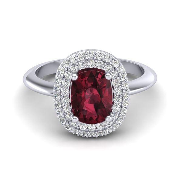 2.50 ctw Garnet With Micro VS/SI Diamond Ring Halo 14k White Gold - REF-49N5F