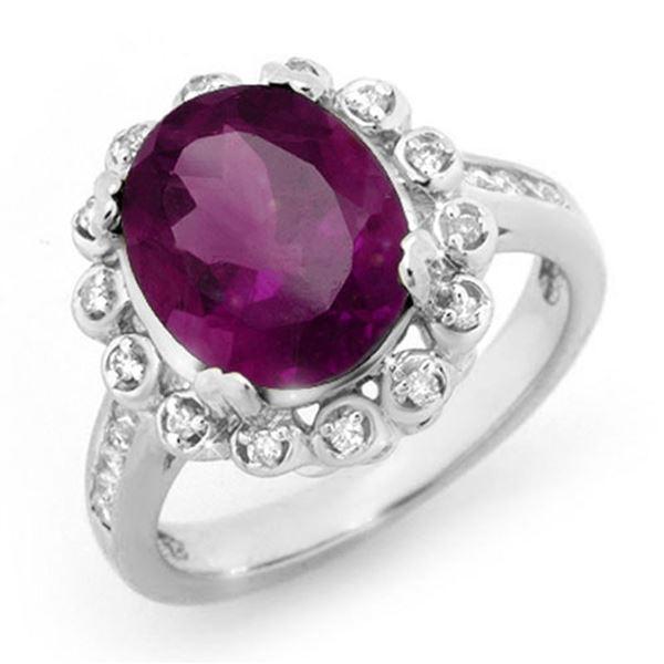 4.33 ctw Amethyst & Diamond Ring 10k White Gold - REF-51N4F