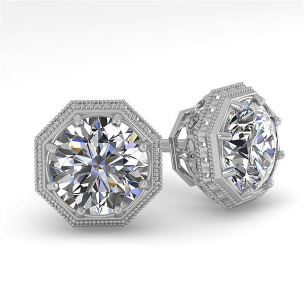 1.05 ctw Certified VS/SI Diamond Stud Earrings Art Deco 18k White Gold - REF-168K2Y