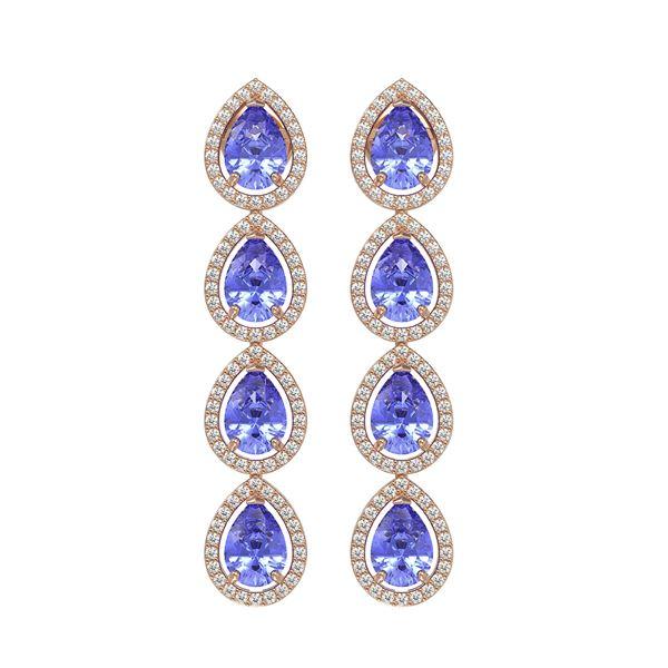 9.01 ctw Tanzanite & Diamond Micro Pave Halo Earrings 10k Rose Gold - REF-193F6M