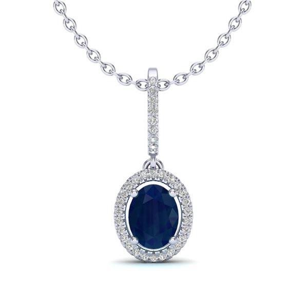 2 ctw Sapphire & Micro Pave VS/SI Diamond Necklace Halo 18k White Gold - REF-53A5N