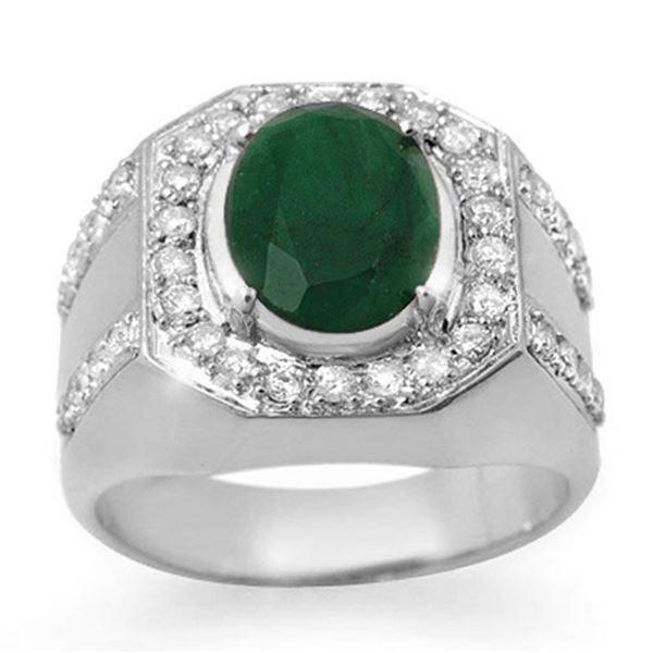5.25 ctw Emerald & Diamond Men's Ring 10k White Gold - REF-123A6N