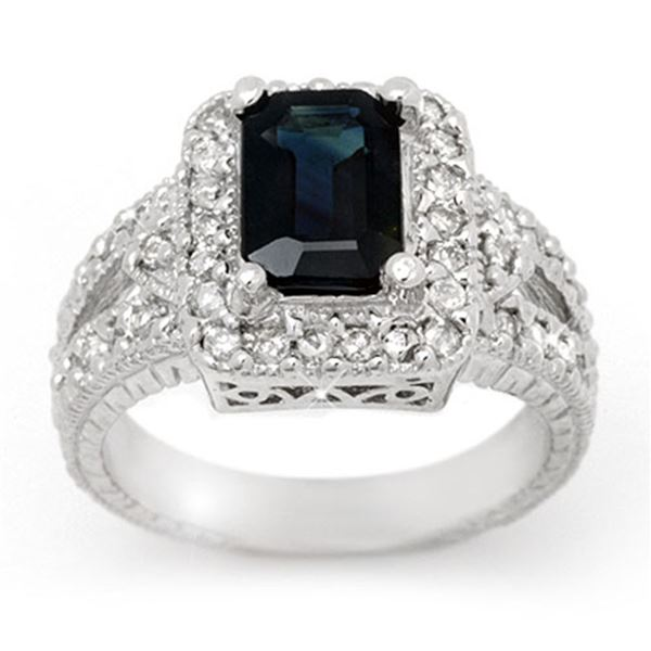 3.0 ctw Blue Sapphire & Diamond Ring 14k White Gold - REF-83K6Y