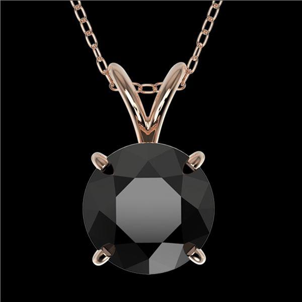 1.59 ctw Fancy Black Diamond Solitaire Necklace 10k Rose Gold - REF-30R3K