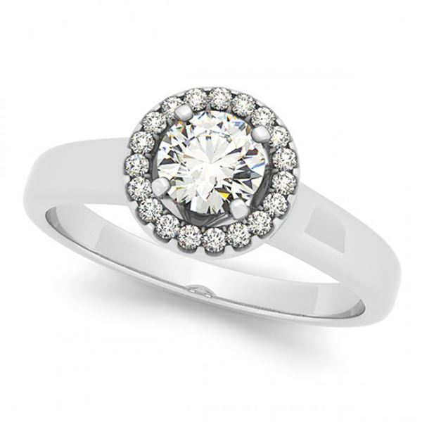 0.65 ctw Certified VS/SI Diamond Halo Ring 18k White Gold - REF-88G9W