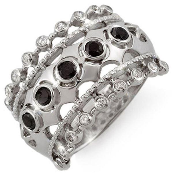 0.75 ctw VS Certified Black & White Diamond Ring 10k White Gold - REF-41W3H