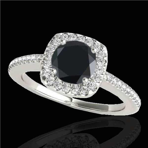 1.25 ctw Certified VS Black Diamond Solitaire Halo Ring 10k White Gold - REF-51G8W