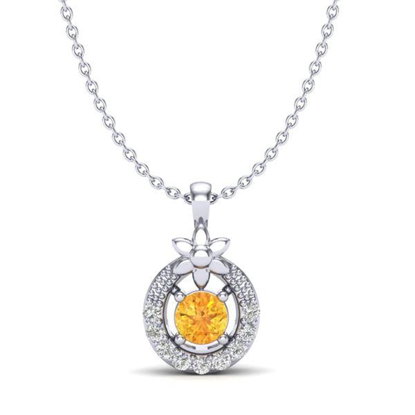 0.20 ctw Citrine & Micro Pave VS/SI Diamond Necklace 18k White Gold - REF-17F2M