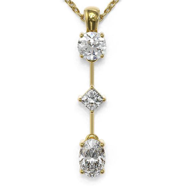 0.9 ctw Oval Cut Diamond Designer Necklace 18K Yellow Gold - REF-121R2K
