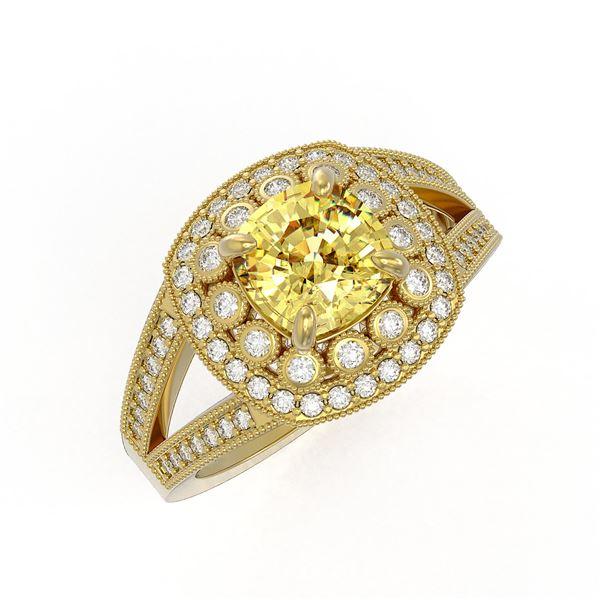 2.09 ctw Canary Citrine & Diamond Victorian Ring 14K Yellow Gold - REF-83X6A