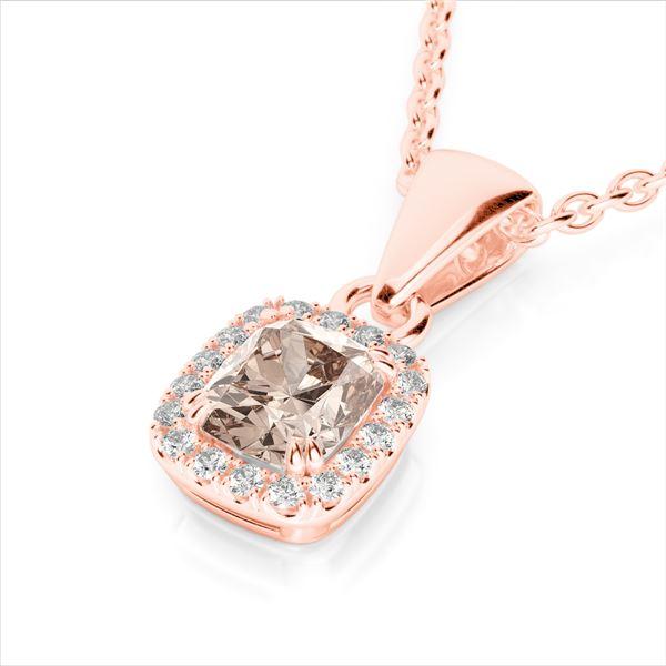 1.25 ctw Morganite & Micro Pave VS/SI Diamond Halo Necklace 10k Rose Gold - REF-25W9H