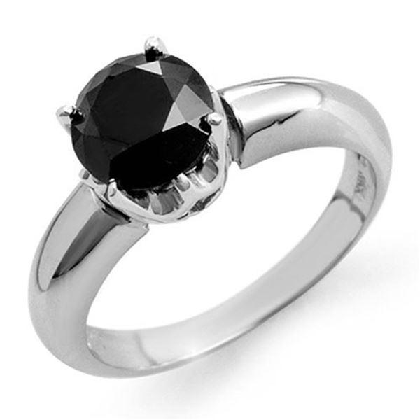 1.75 ctw VS Certified Black Diamond Ring 14k White Gold - REF-49N8F