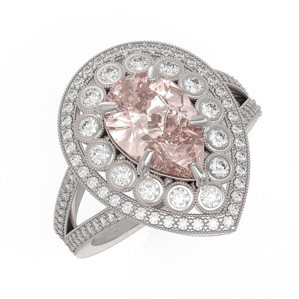 4.22 ctw Certified Morganite & Diamond Victorian Ring 14K White Gold - REF-195G6W