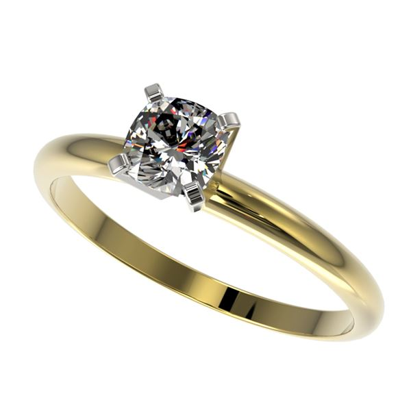 0.50 ctw Certified VS/SI Quality Cushion Cut Diamond Ring 10k Yellow Gold - REF-60W3H