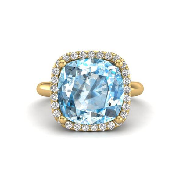 6 ctw Sky Blue Topaz & Micro Pave VS/SI Diamond Ring 18k Yellow Gold - REF-49K3Y