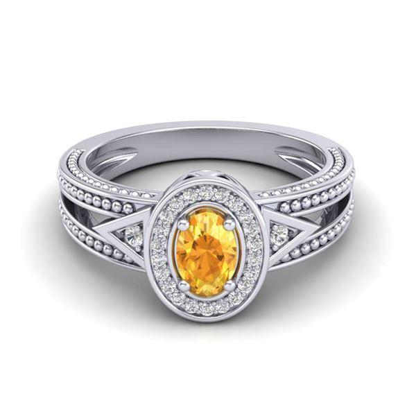 0.53 ctw Citrine & VS/SI Diamond Halo Fashion Ring 10k White Gold - REF-18X8A
