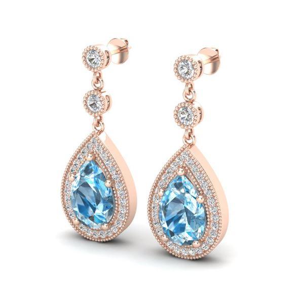 7.50 ctw Sky Topaz & Micro Pave VS/SI Diamond Earrings 14k Rose Gold - REF-55H2R