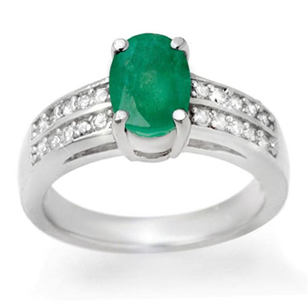 3.25 ctw Emerald & Diamond Ring 14k White Gold - REF-46W5H