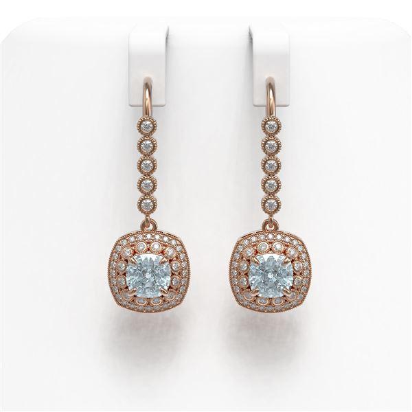 4.5 ctw Aquamarine & Diamond Victorian Earrings 14K Rose Gold - REF-172W8H