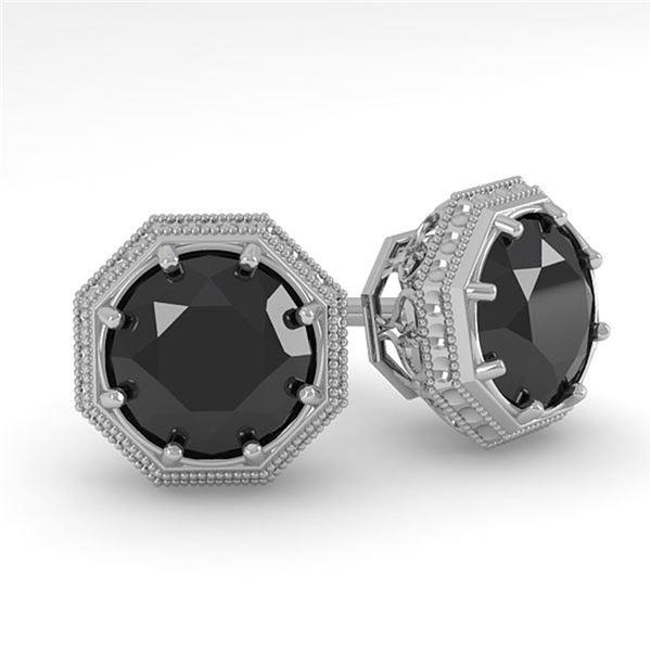 1.0 ctw Black Diamond Stud Solitaire Earrings Art Deco 18k White Gold - REF-40W8H